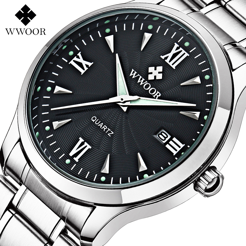 WWOOR Men's Business Casual Luminous Stainless Steel band Quartz Analog Wrist Watch Analog Display Date Hot Selling 6010601S3(China (Mainland))