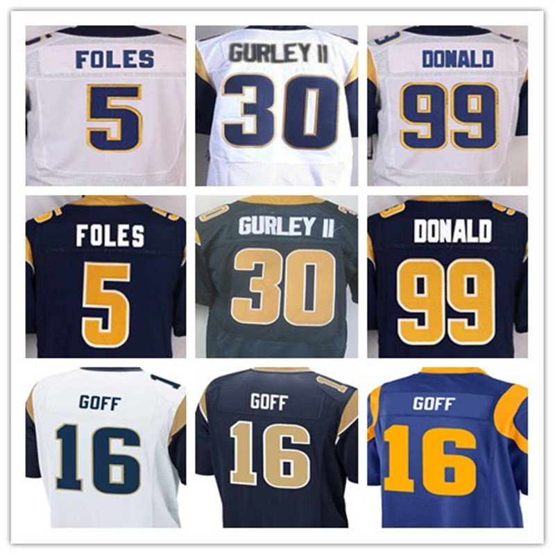 Good quality,Mens 5 Nick Foles 30 Todd Gurley II 99 Aaron Donald 16 Jared Goff elite jersey,White,Navy Blue,Baby Blue,Size 40-56(China (Mainland))
