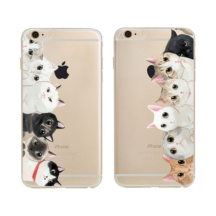 New Fashion Girls Brand New Animal Because Special Cute Cat Design Tpu Transparent Mobile Phone For Iphone 5 5s Cases 4.0 Inch(China (Mainland))