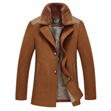 2016 New Fashion Fur Collar Trench Coat Men Wool Winter Overcoat Men Single Breasted Long Trench Coat(China (Mainland))