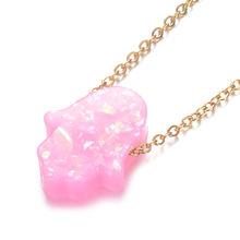 Wiele kolorów Hamsa Opal kamień wisiorek naszyjnik Fatima rąk 100% ze stali nierdzewnej złoty choker łańcuszek prezenty Femme(China)