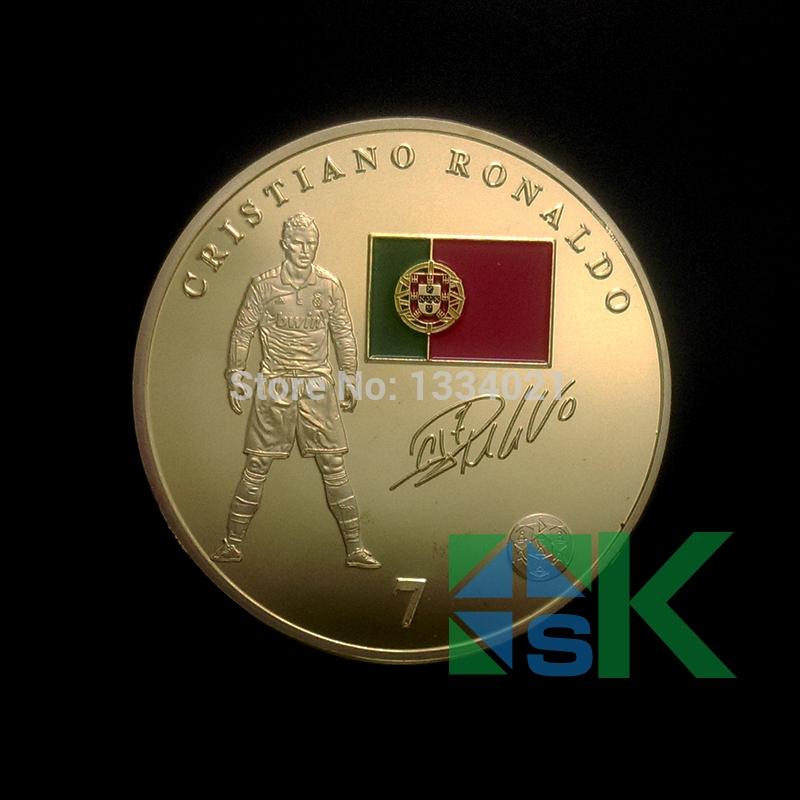 2016 NEWEST! Super Football Stars, 5PC/LOT Cristiano.Ronaldo GOLD PLATED COIN.FOOTBALL SOUVENIR COINS.Free Shipping(China (Mainland))