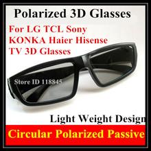 4 шт./лот : круговой поляризацией пассивные очки для TCL Sony жк-черный конка Haier Hisense 3D TV 3D стеклянной фильм игры 3D кинотеатров
