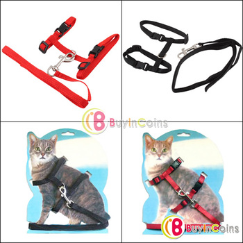 New Pet Cat Adjustable Nylon Lead Leash Collar Harness Kitten Belt Safety Rope #22436