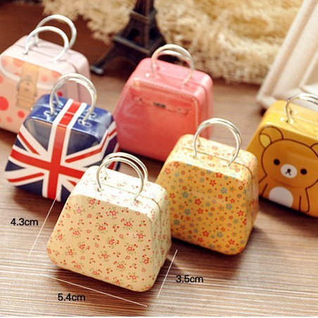 fashion Home peninsula life creative handbag bag Mini Storage small tin coin box cartoon cute candy box Free Shipping