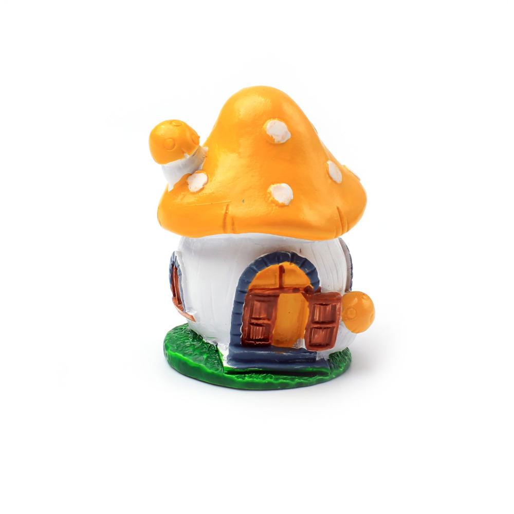 Miniature Resin Garden Fairy Ornament Flower Pot Plant Pot Home Decor Yellow Mushroom House With Open Door Figurines Miniatures(China (Mainland))