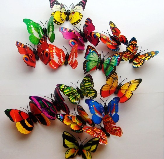 Hot& wholesale  free shipping 100pcs 3D Double Wing Artificial Butterfly for Wedding Decorations Wedding Favor Home Decoration