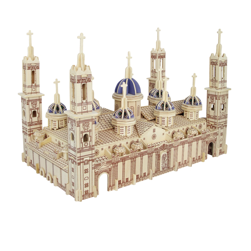 A Kids Toy Of 3d Wooden Puzzle Children's And Adult Model The Pilar Basilica The Famous Building Series A Best Gift For Kids(China (Mainland))