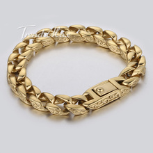 11mm Smooth Curb Link Carved Swirls Gold Tone Mens Chain 316L Stainless Steel Bracelet Customized Wholesale Gift Jewelry LHB324
