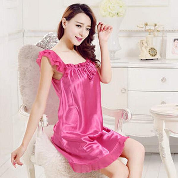 XXL Large size silk nightgown ruffles pajamas for women elegant long nightgowns sleepwear summer dress ladies nightdress Q796Одежда и ак�е��уары<br><br><br>Aliexpress