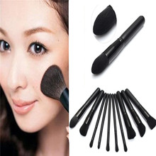 Pro 10Pcs Makeup Brushes Sets Black Wooden Handle Fiber Wool Bristles Cosmetic Powder Eyeshadow Blush Brush