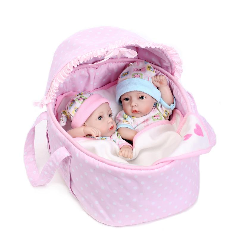 2pcs set 28cm silicone reborn baby dolls girl amp boy baby alive boneca toys for children lifelike