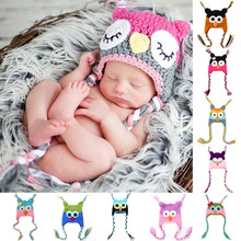 New Cute Baby Hat Winter Crochet Custom Handmade Knitted Infant Toddler Baby Hat Owl Newborn Photography Prop(China (Mainland))