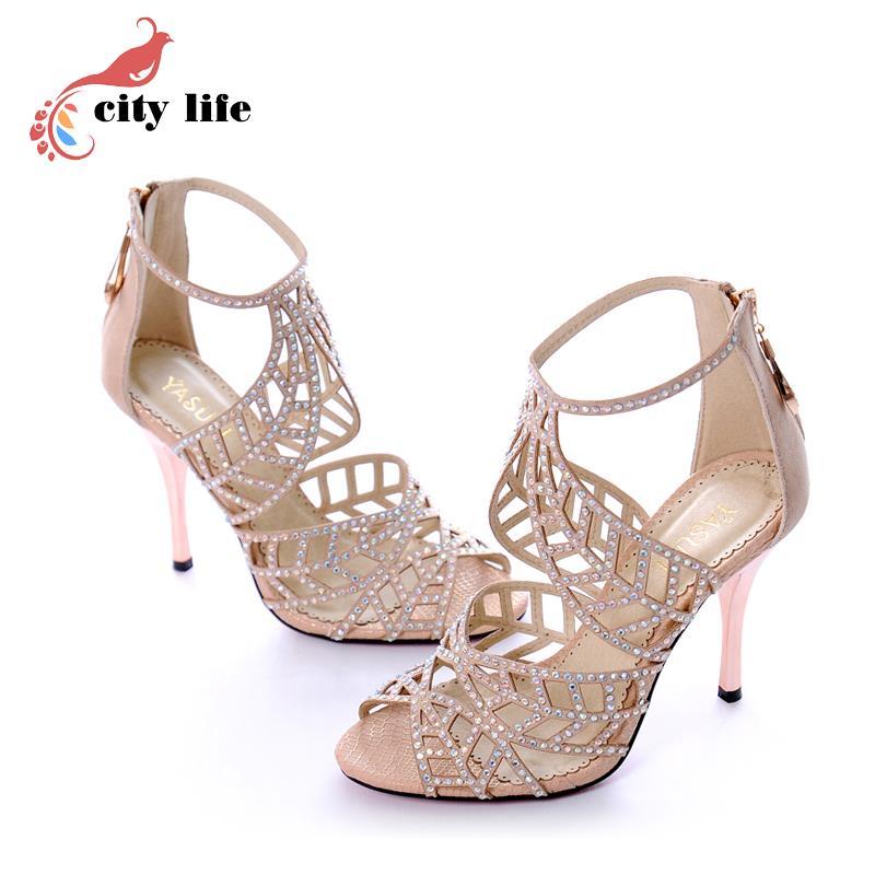 Gladiator Fretwork High Heel Sandals Luxury Brand Jimm Genuine Leather  Sandals, Rhinestone  Summer Shoes ,  Plus Size 33-41