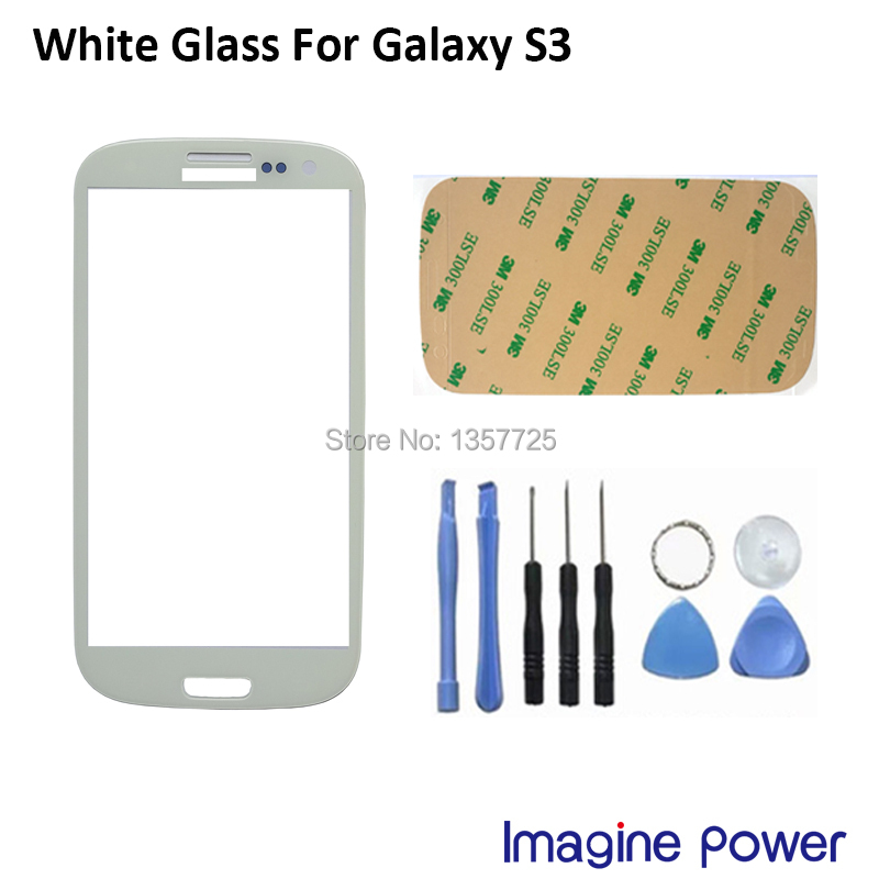 Mobile phone touch panel White Glass for Samsung Galaxy S3 LCD Free Tools 3M Sticker Touch Screen Digitizer Front Glass Lens