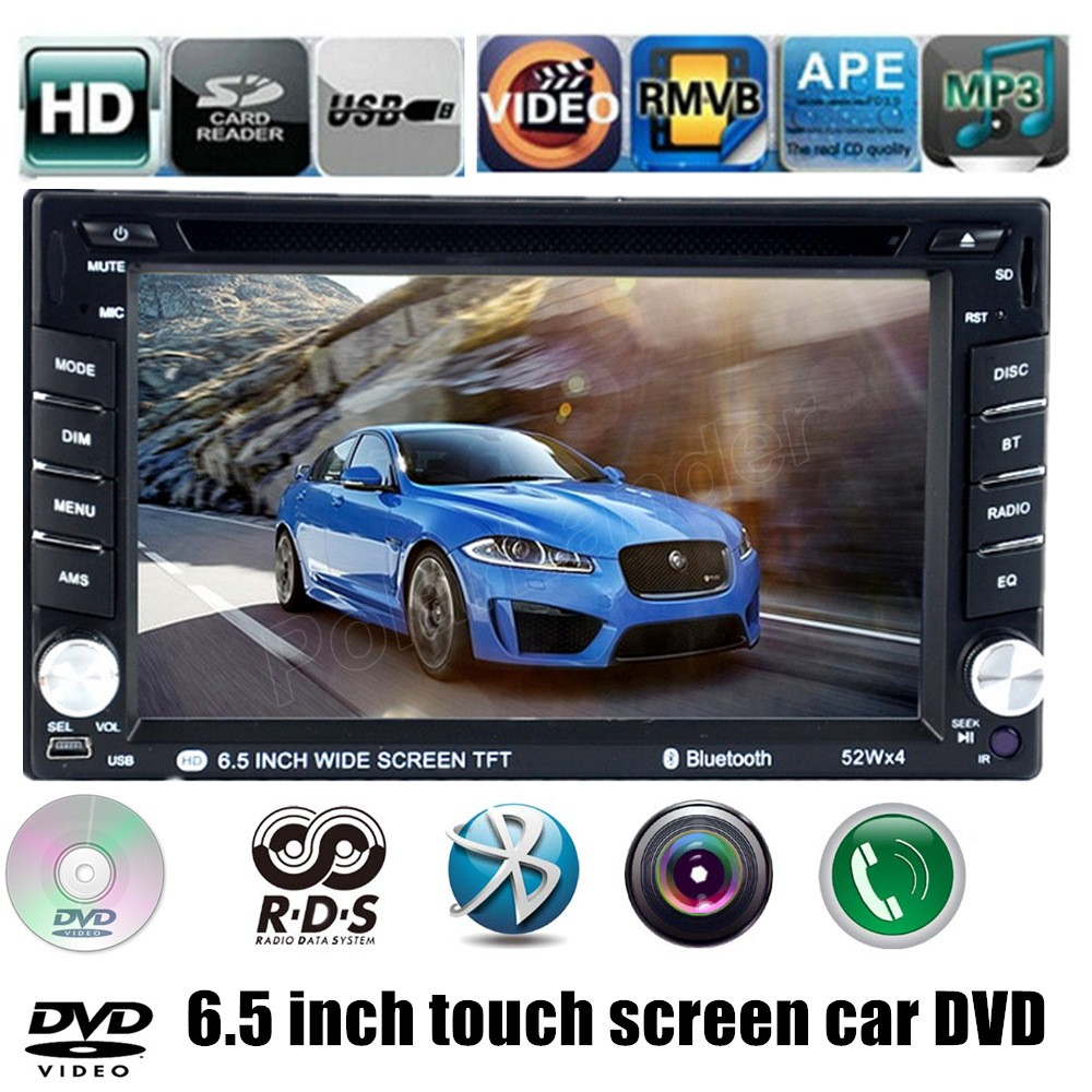 Universal 2 din 6.5 inch 7 languages for rear camera Car DVD MP4 Player With Bluetooth USB AM FM RDS touch screen SD card Radio(China (Mainland))