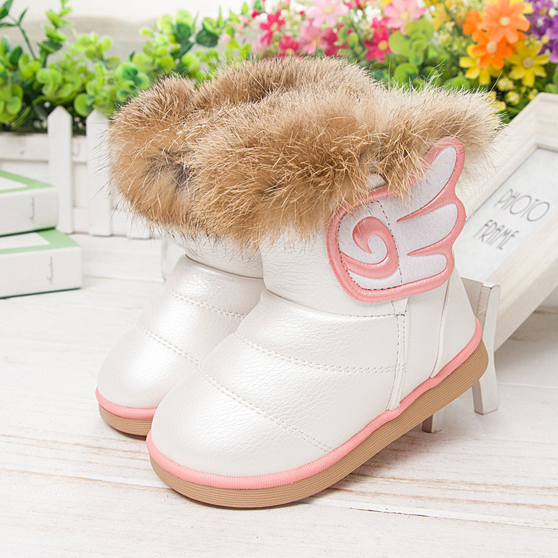 Winter Children Boots High Quality Kids Waterproof Snow Boots Wings Boys Warm Leather Boots Plus Velvet Girls Fashion Shoes 3A(China (Mainland))