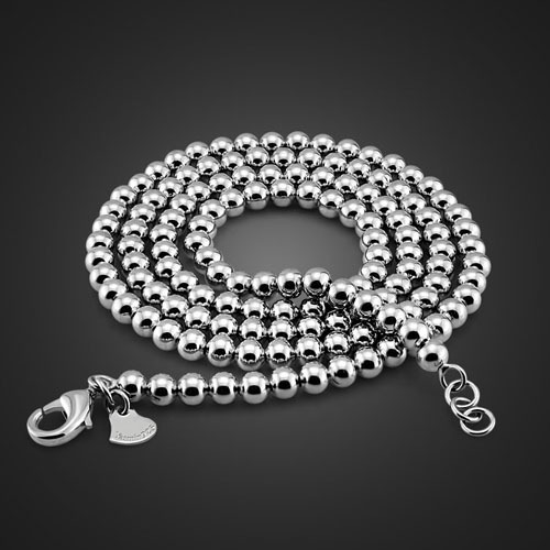 2014 new Mens beads fashion sterling silver necklace 925 beads men chain <br><br>Aliexpress