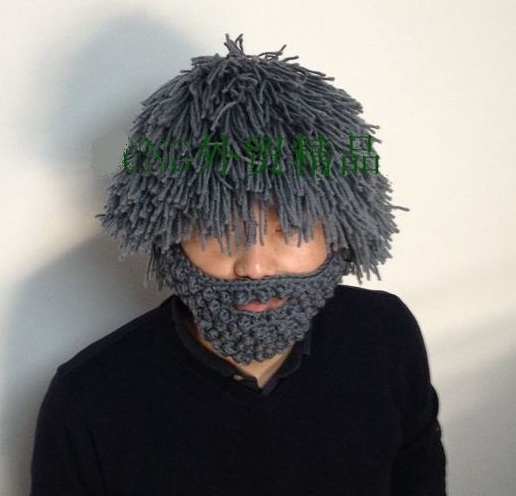 NEW-Winter-100-Handmade-Knitted-Hat-Wig-Mustache-Beard