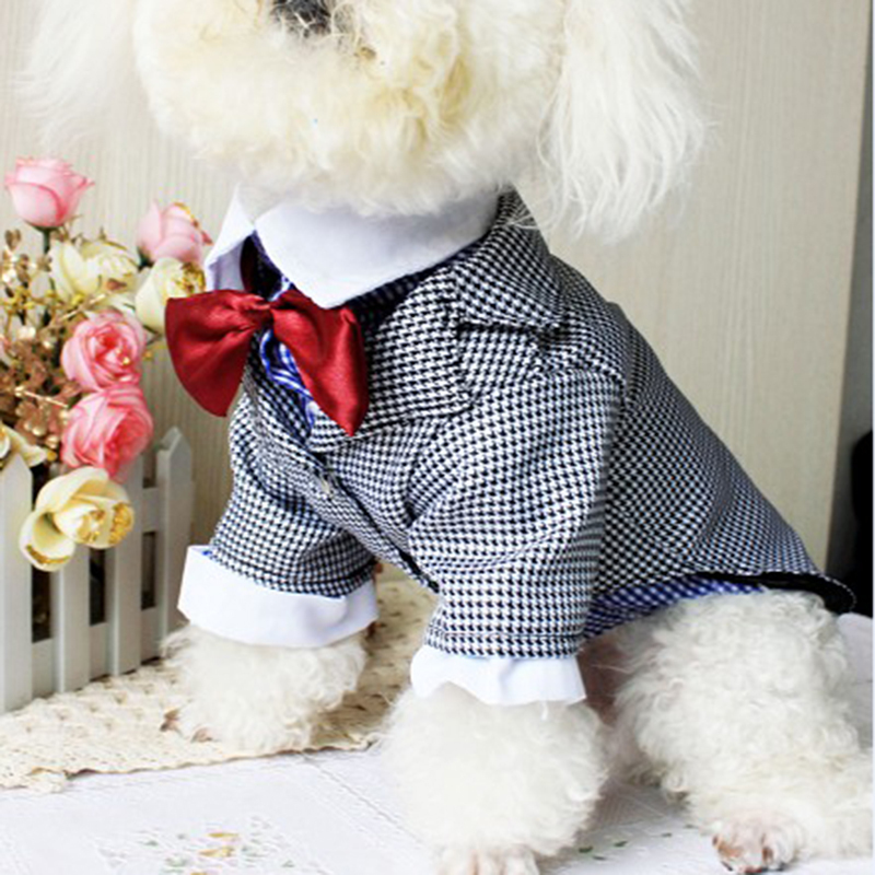 2016 Summer Product For Pet Dog Clothes Vest T Shirt Wedding Dog Suit & Bow Tie Puppy Pet Clothes For Dog Costume Apparel S-XXL(China (Mainland))