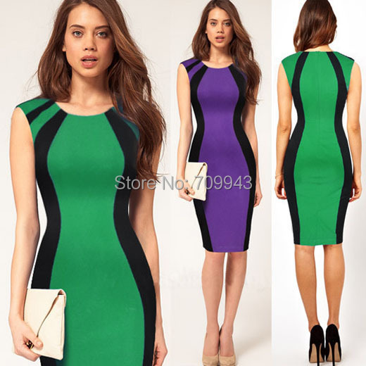 Женское платье Nice-forever Casaul 2015 Bodycon Colorblock 1N254