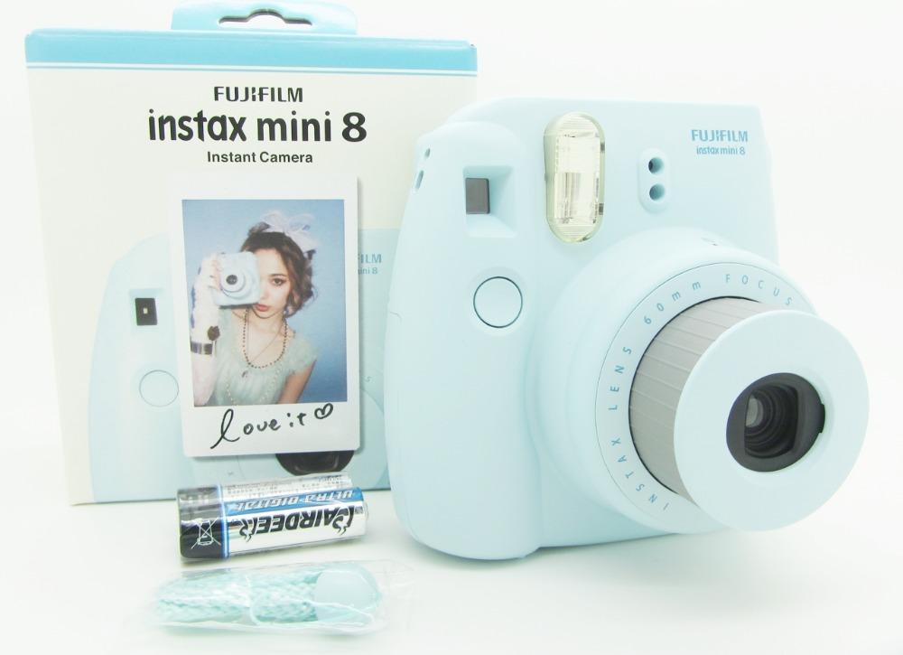 free shipping Fujifilm Instax Mini 8 Instant Film Photo Camera Yellow Blue White Black Pink Purple Free Shipping Gift