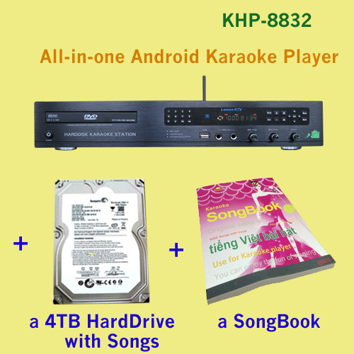 8832(#3) 27850Vietnamese&English songs include 4TB HDD + All-in-one Android KTV karaoke player with High and best quality(China (Mainland))