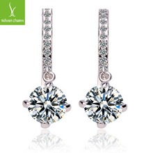 High Quality Hearts and Arrows Austrian Crystal Female Dangle Earring 18K Platinum Plated Anti-allergic Luxury Jewelry XCHE014(China (Mainland))