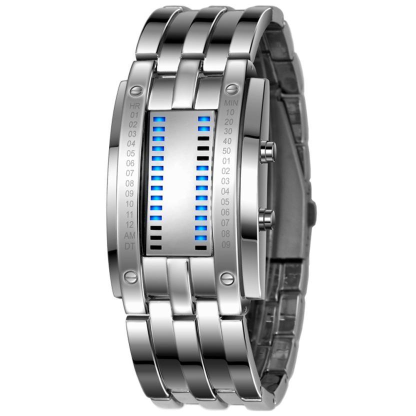 Hot Marketing 2016 Luxury Men's Stainless Steel Date Digital LED Bracelet Sport Watches M03(China (Mainland))