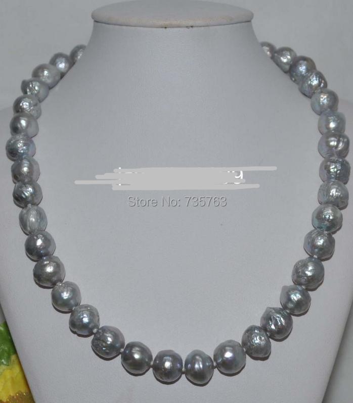 xiuli 0015454 Beautiful Gray 10-12mm Baroque Kasumi cultured Pearl Necklace<br><br>Aliexpress