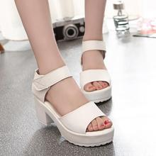 big size 35- 41 2015 women's summer high-heeled shoes thick heel open toe platform sandals platform sandals white