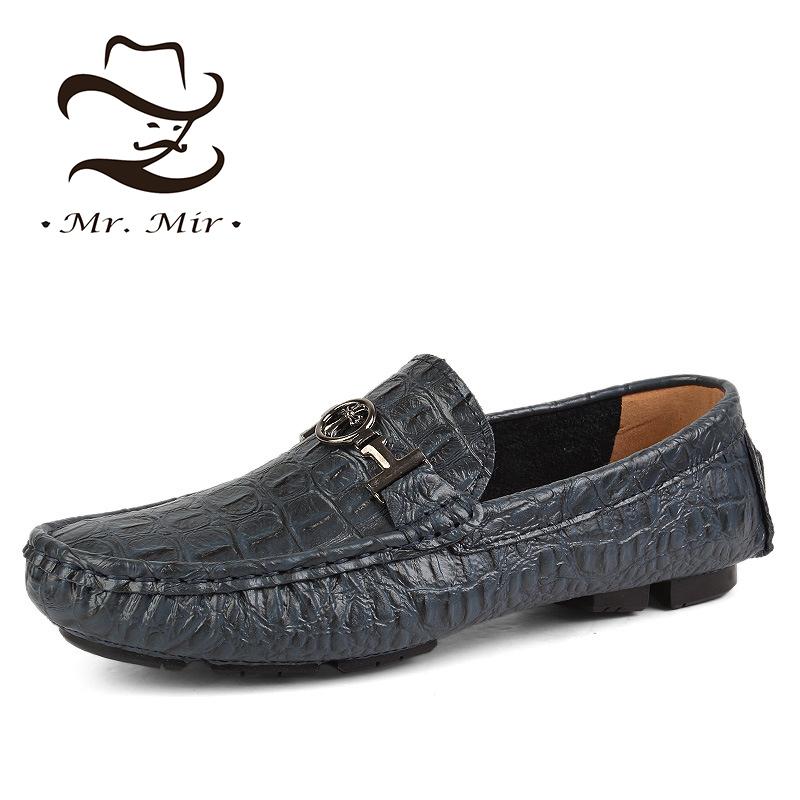 Mr Mir Big Siz Genuine Leather Men Flats, Italian Leather Crocodile Men Loafers, Brand Driving Men Moccasins, Leather Men Shoes(China (Mainland))