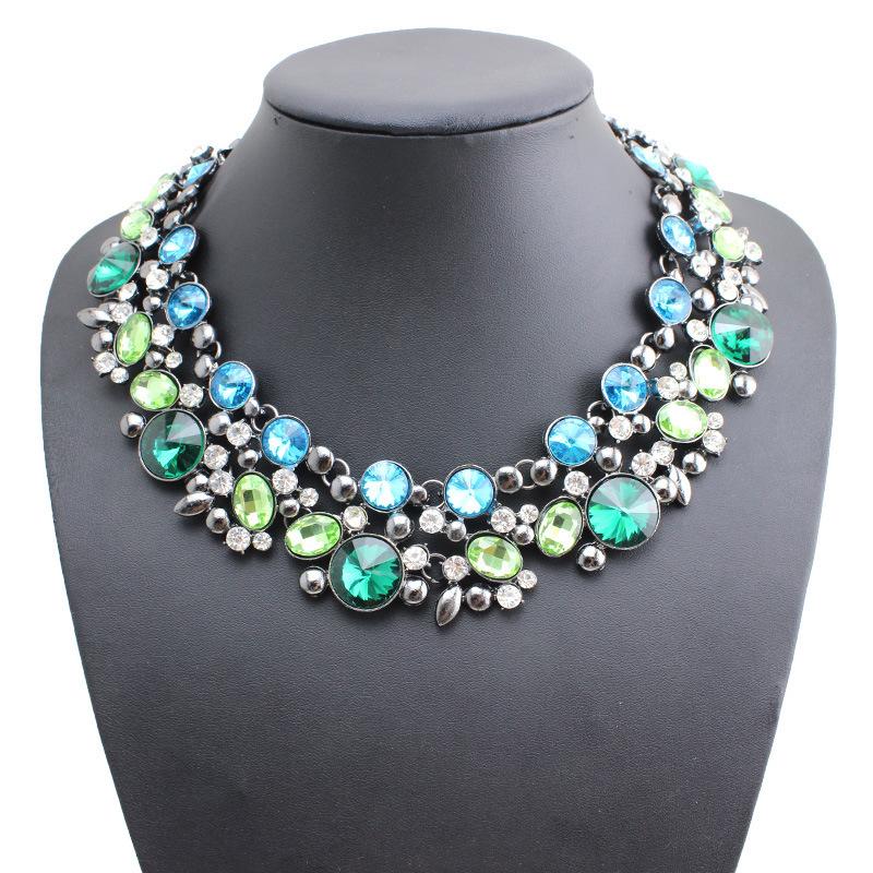 Синий кристалл камни чокеры ожерелье для женщины ювелирные изделия модный женщины ожерелье комплект себе ожерелья