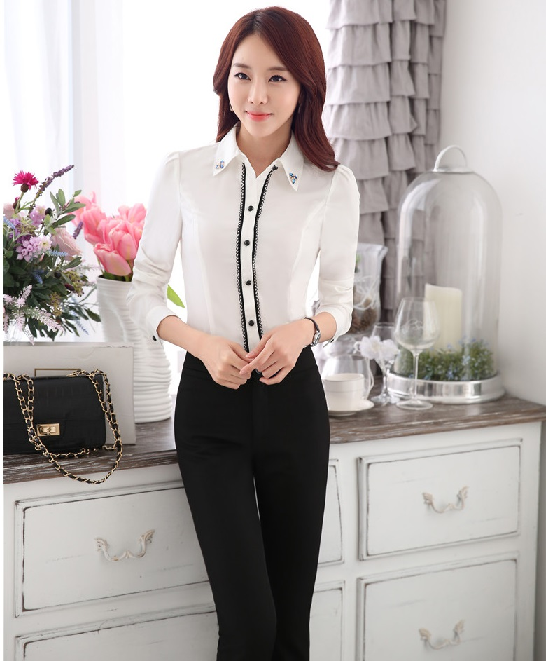 Formal Uniform Style Pantsuits With Tops And Pants For Women Office Work Wear Blouses Ladies ...