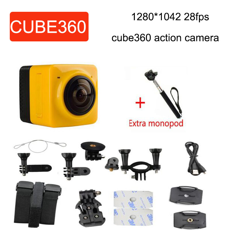 add monopod new camera CUBE 360 720P 360-degree Panoramic VR Camera Build-in WiFi Mini Sports Action Camera
