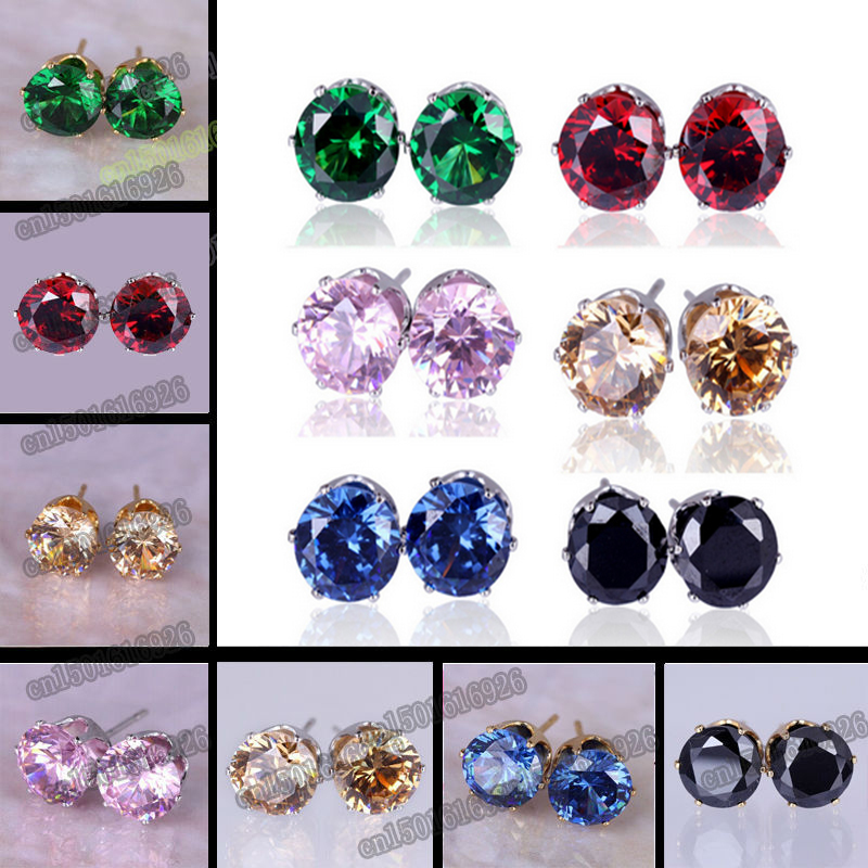 Free Shipping 8MM Colorful Shining Stud Earrings Big Luxury Austrian Crystal Female Earrings For Women Best Gifts Brand Jewelry(China (Mainland))