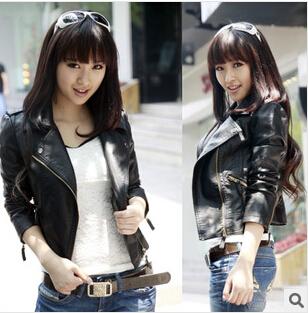 Autumn Women jacket pu fashion new brand plus size black leather jacket European style oblique zipper motorcycle PU jacket(China (Mainland))