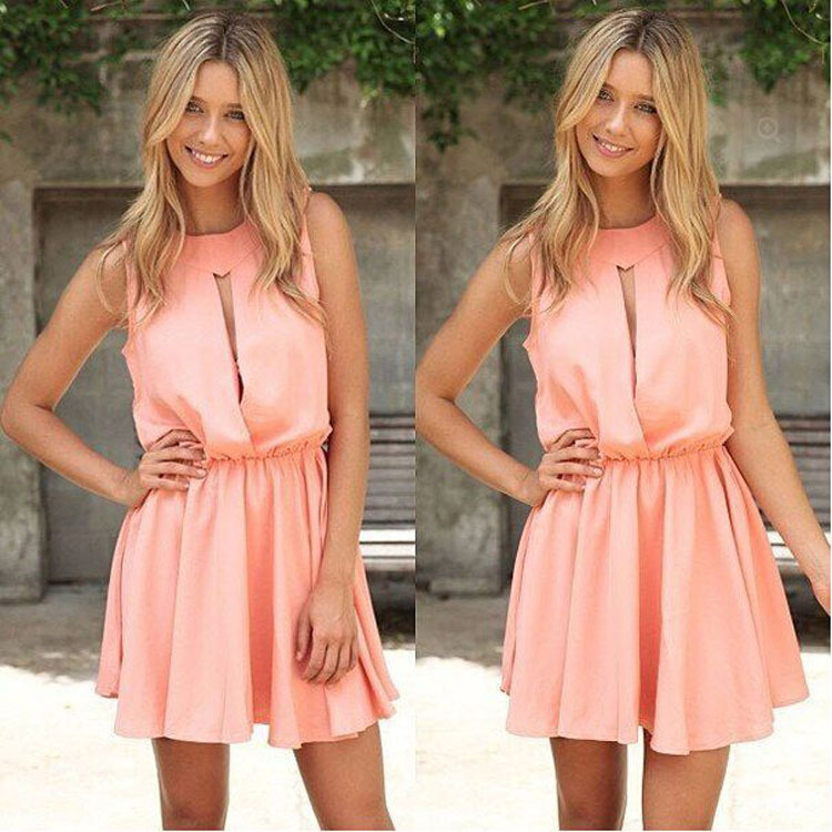 2015 summer style New Arrive O-Neck Sleeveless Short Casual Dresses Pink Chiffon Hollow Sexy Beach Party Dress - Beauty Collector store