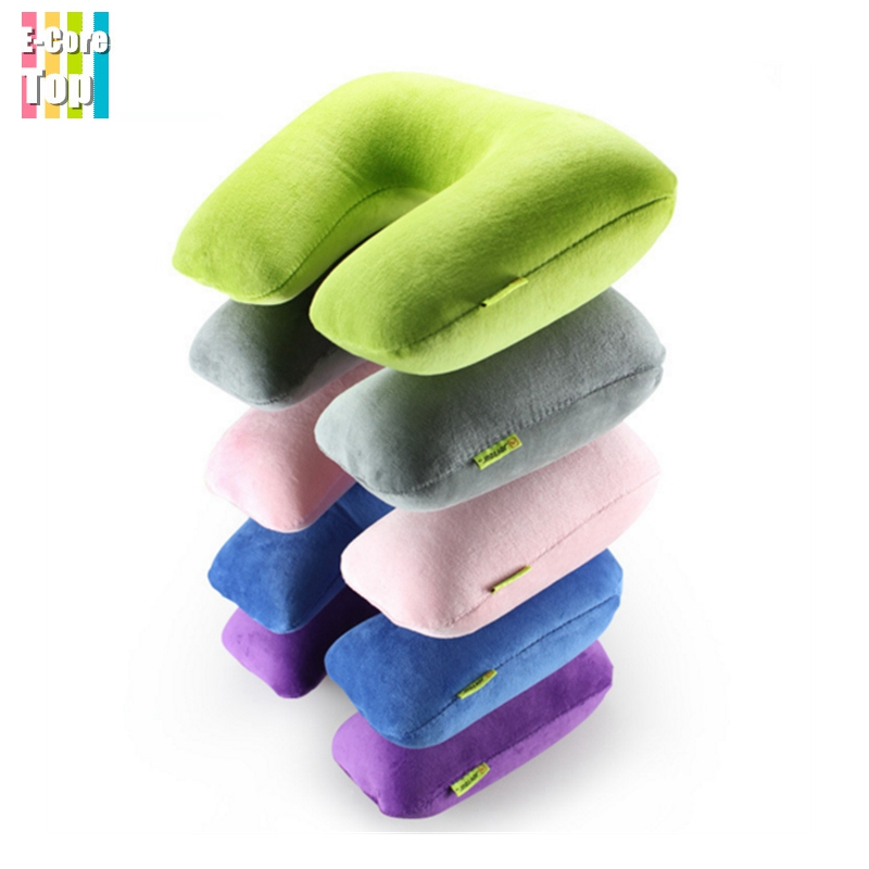 Travel Inflatable Pillow U-Shape Neck Rest Protector Air Cushion Blow Up Folding Pillow Soft Velvet+PP Liner Cover Comfortable(China (Mainland))