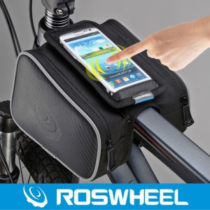 Waterproof Roswheel 1.8L Cycling Bike Front Frame Bag Tube Pannier Double Pouch 5.5in phone case bicycle accessories Saddle bag(China (Mainland))