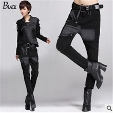 2016 Fashion Harem Pants fpr Women, Winter Casual Trousers, Sexy Black Stripes, Slim Jean, Leather Pants, Free Shipping(China (Mainland))
