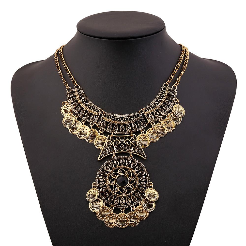 2015 vintage big gem Statement bohemian necklace fine jewelry fashion collar choker tassel coin gypsy ethnic