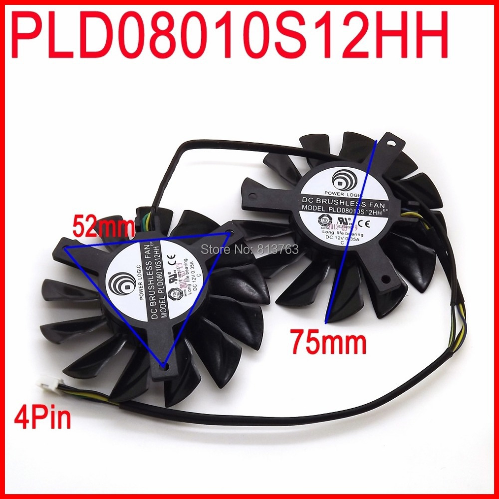2pcs/lot POWER LOGIC PLD08010S12HH 75mm DC 12V 0.35A 4Pin Dual Fans Replacement Video Card Fan MSI Twin Frozr III(China (Mainland))