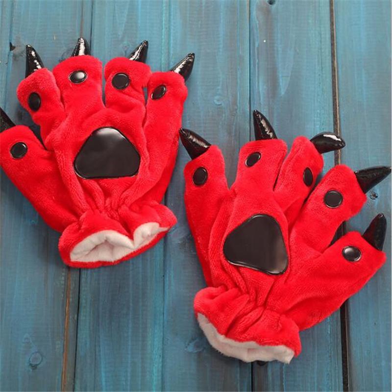 Women Cute Animal Gloves Autumn Winter Cartoon Animal Paw Gloves Fashion Dinosaur Paw Glove(China (Mainland))