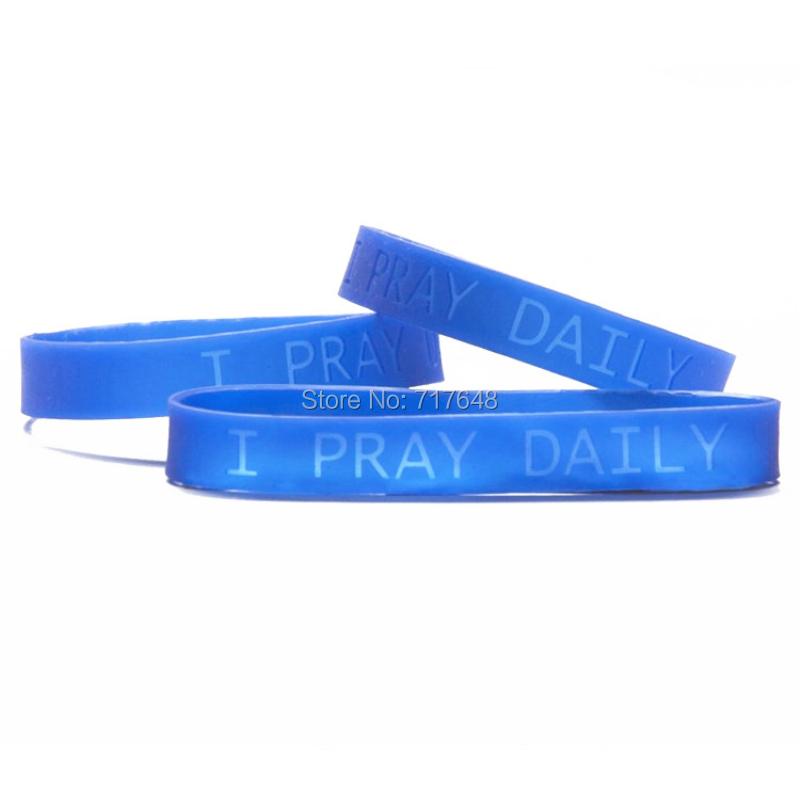 200pcs a lot I pray daily wristband silicone bracelets rubber cuff wrist band bangle free shipping by FEDEX express(China (Mainland))