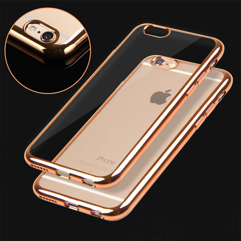 6S/6P Rose gold Ultra Thin Clear Crystal Rubber Plating Electroplating TPU Soft Mobile Phone Case For iPhone 6 6s Plus Cover bag(China (Mainland))