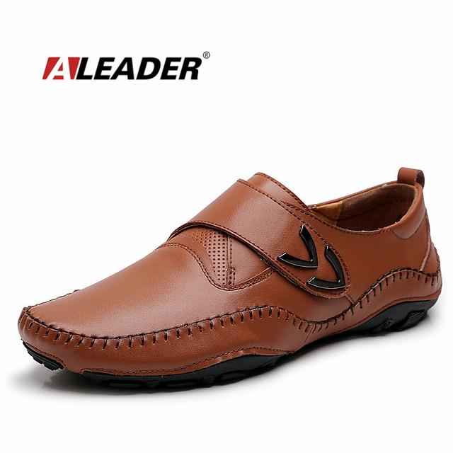 Aleader мужские кожаные мокасины новый 2016 весна лето плоский мужская обувь мокасины ...