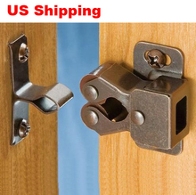 US Shipping 10pcs Double roller bronze plate door latch wardrobe catch kitchen cabinet cupboard(China (Mainland))