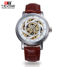TEVISE watches men's Steampunk Skeleton reloj hombre watch, leather strap hollow-out machinery clock relogio masculino