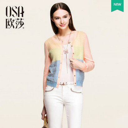 OSA 2015 Spring New Arrivals Hit Color Knit Sweater Women Round Neck Single Button Splice Casual Cardigans Plus Size SE512019(China (Mainland))